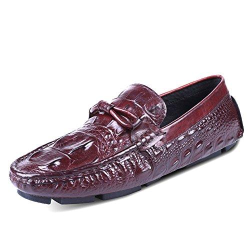 Santimon Mens Cuir Causal Alligator Grain Mocassin Chaussures Marron