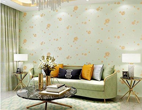 Embossing Petals - Wapel Small Petal Wallpaper 3D Embossing The Bedroom Living Room Background Wallpaper,Green