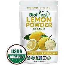 Biofinest Lemon Powder - 100% Pure Antioxidants Superfood - USDA Certified Organic Kosher Vegan Raw Non-GMO- Boost Digestion Weight Loss - Fresh Fruit For Smoothie Beverage (4 oz Resealable Bag)