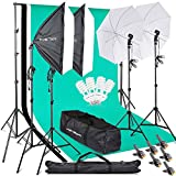 Photography Softbox Backdrop Lighting Kit, FOSITAN 2.6M x 3M/8.5ft x 10ft Background Support System 800W 5500K Umbrella with 2M Stand for Photo Video Studio Shooting