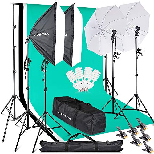 Photography Softbox Backdrop Lighting Kit, FOSITAN 2M x 3M/6.5ft x 10ft Background Support System 800W 5500K Umbrella with 2M Stand for Photo Video Studio Shooting
