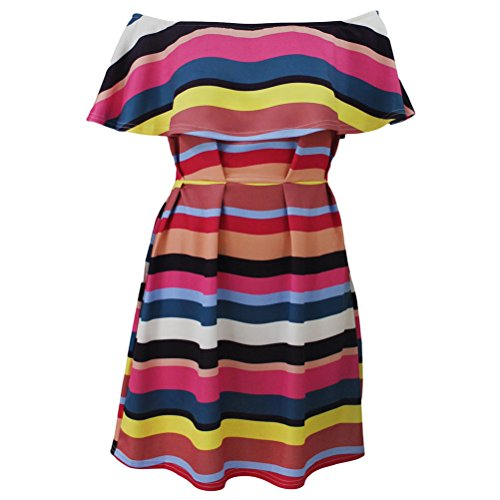 yeeatz-african-colorful-stripes-ruffle-off-shoulder-skater-dress