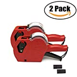 Yarachel MX5500 EOS Price Tag Gun Labeler Labeller - 2PCS 8 Digits Pricing Gun Labeler Kits Included Labels & Ink Refill (Red)