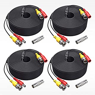 ANNKE (4) 150 Feet Video Power Cable for Security Camera System, All-in-One BNC Video and Power CCTV Security Camera Cable with Female Connectors (4-Pack)