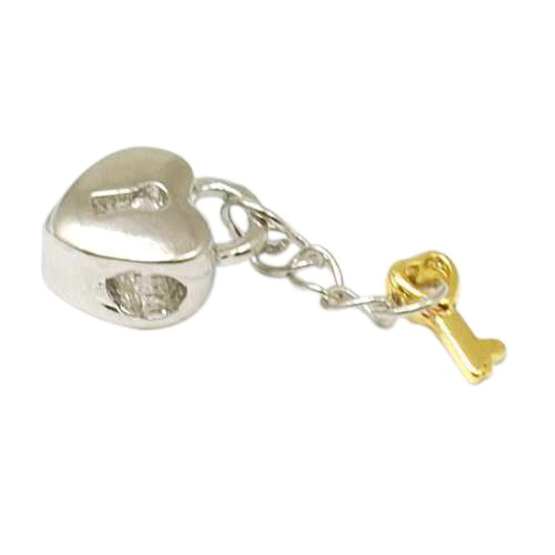 TOC BEADZ Key To My Heart Padlock 9mm Charm Bead