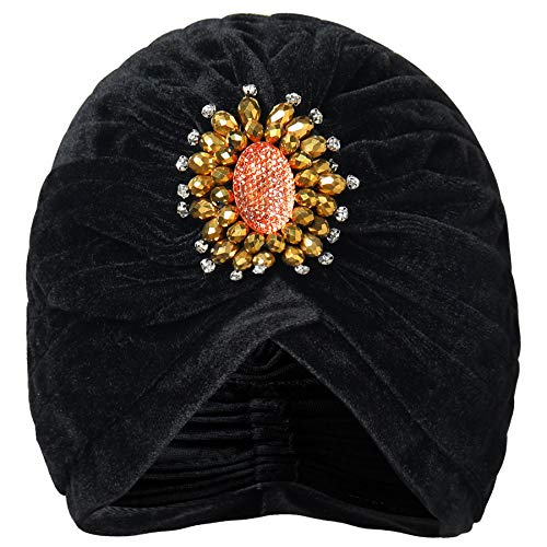 (BABEYOND Women's Ruffle Turban Hat Knit Turban Headwraps with Detachable Crystal Brooch for 1920s Gatsby Party (Black2) )
