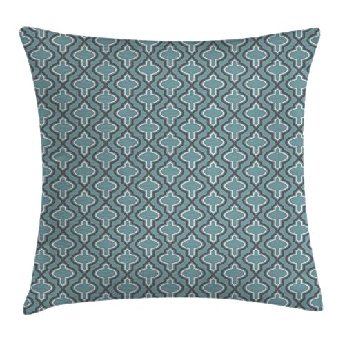 Price comparison product image Ambesonne Turquoise Throw Pillow Cushion Cover, Oriental Moroccan Style Ethnic Shapes Rounds in Symmetic Order Orient Image, Decorative Square Accent Pillow Case, 16 X 16 Inches, Turquoise Brown