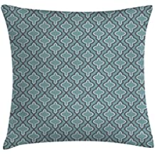 Turquoise Throw Pillow Cushion Cover by Ambesonne, Oriental Moroccan Style Ethnic Shapes Rounds in Symmetic Order, Decorative Square Accent Pillow Case, 24 X 24 Inches, Slate Blue and Light Blue