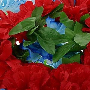 D DOLITY Funeral Cemetery Decoration Handmade Silk Lily Flower Memorial Flower Wreath 60cm - H 3
