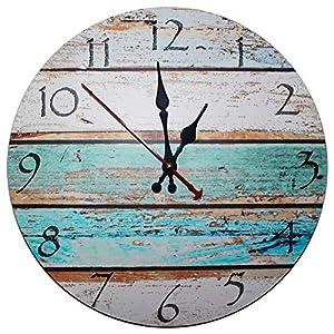 Kurtzy Reloj de Pared de Madera de 30cm – Reloj Manecillas Silenciosas Números Vintage – Reloj Redondo de Madera Decorativo Shabby Chic – Silencioso Movimiento de Cuarzo para Sala de Estar, Cocina, Habitación, Baño