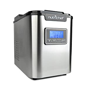 NutriChef Countertop Ice Maker - Portable Ice Cube Machine | Digital LCD Display | Adjustable Ice Cube Size | Stainless Steel (AZPICEM62)