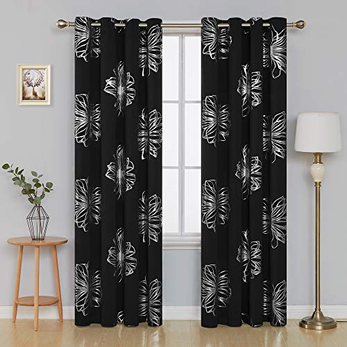 52 Foil - Deconovo Foil Print Floral Thermal Insulated Window Blackout Curtain 52x95 2 Panels Black