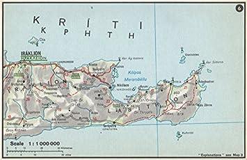 Amazoncom EASTERN CRETE vintage map plan Heraklion Agios Nikolaos