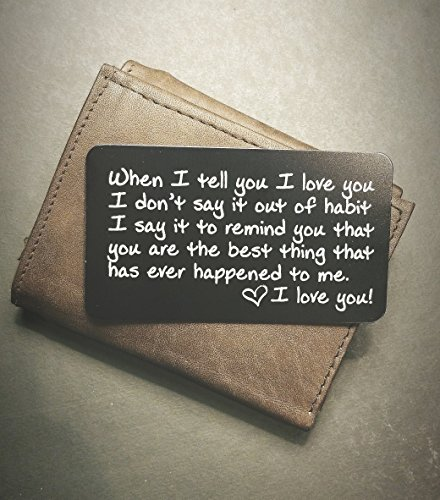 Engraved Wallet Inserts - Perfect Anniversary Gifts for Men; Surprise Him with this Engraved Handmade Mini Love Note; Anniversary Card from Wife; Anniversary Cards for Husband, Boyfriend; Deployment (Handmade Wedding Anniversary Cards)