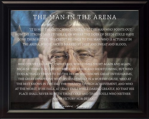 WeSellPhotos Theodore Teddy Roosevelt The Man in The Arena Quote 8x10 Framed Picture (Unique American Flag Background)