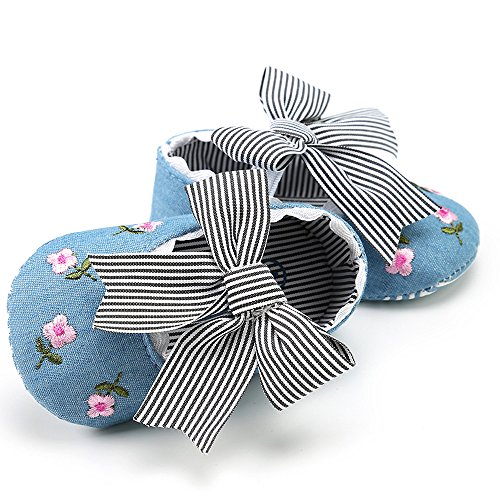 Elaco Infant Baby Girls Moccasins Anti-Slip Soft Sole Princess Shoes (12~18 Month, Blue)