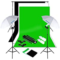 Excelvan Photography Lighting Kit 1250W Daylight Umbrella + Backdrop Support Stand (10x6.5FT) + 3 Background (9x6FT, White Black Green)
