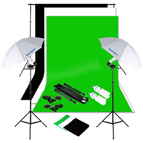 Excelvan Photography Lighting Kit 10x6.5FT 1250W Daylight Umbrella and Backdrop Support Stand and 3 Background 9x6FT, White Black Green by Excelvan