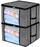 What Is Bigger Than a King Size Bed Clothes Breathable Blanket Storage Bag for Comforter, Household Home Organizers Tidy Up Your Closets,Shelves, Blankets, Linen Cloth Create Extra Storage with Clear Window, Anti-Mold,Set of 2 Black wit