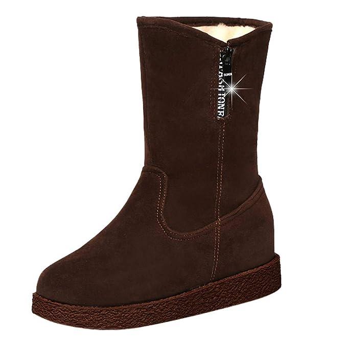 SamMoSon Botas Mujer Altas por Encima De La Rodilla,Botas De Gamuza para Mujeres Cuñas Botas De Tubo Medio Casual Mantener Cálidos Zapatos Botas para La ...