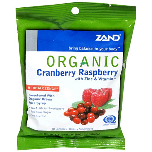 ZAND Organic Lozenges, with Zinc & Vitamin C, Cranberry Raspberry, 18-Count Bags (Pack of 12)