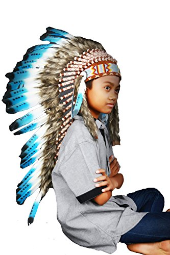 Halloween Costumes For 11-13 Year Olds (N13B- From 5-14 years Kid / Child's: Long Indian blue swan feather Headdress)