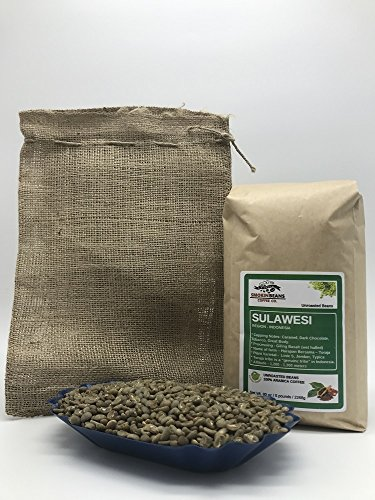5lbs SULAWESI TORAJA (includes a FREE BURLAP BAG) Specialty-Grade, CURRENT-CROP Green Unroasted Coffee Beans – Grown in one of the Most Remote Growing Regions in the World – a very Consistent Cup