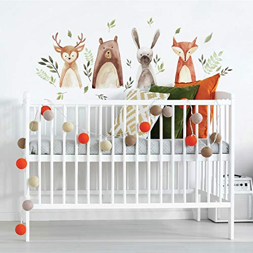 RoomMates RMK4020SCS Watercolor Woodland Critters Peel And Stick Wall Decals,brown, gray, green, orange, tan