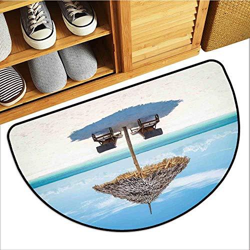 Axbkl Door mat Customization Seaside Wooden Sun Loungers Facing Eastern Ocean Under a Thatched Umbrella in Zanzibar Easy to Clean W30 xL18 Turquoise Cream