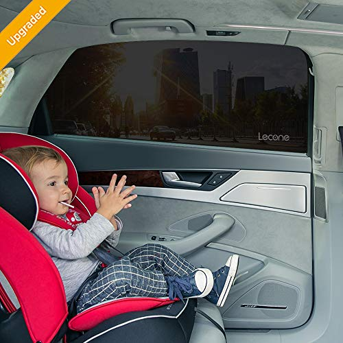 Lecone Upgraded Car Window Tint Film, Reusable Static Cling Shade, Electrostatic Self-Adhesive Black Sun Blocker Screen for Vehicle, Protect Your Baby Kids & Keep Car Cool (Pack of 4) (Window Tint Automotive)