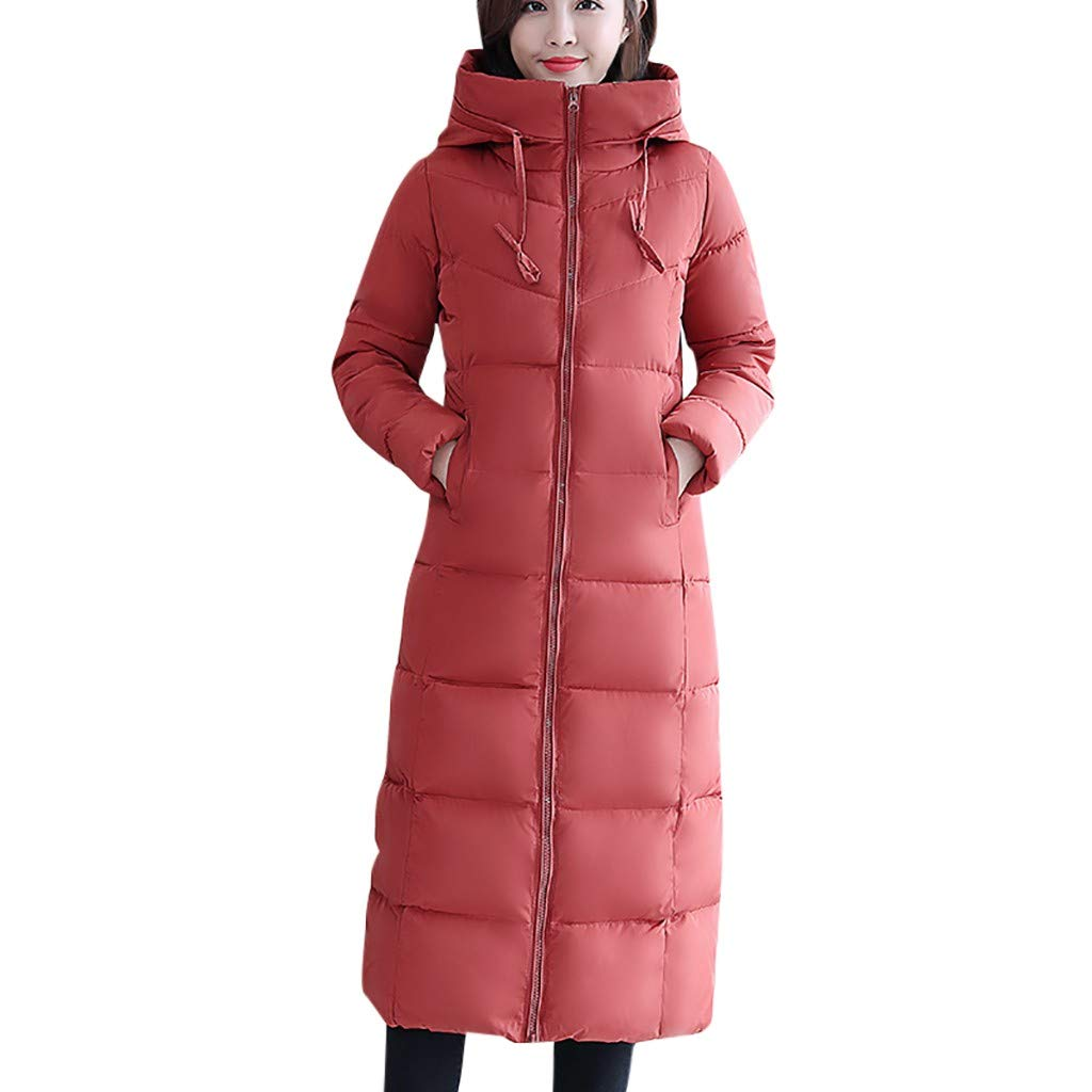 Fashionhe Women Warm Down Jacket Slim Outwear Knee Length Thick Hoodie Coat Long Sleeve Casual Loose Top(Watermelon Red. 3XL) by Fashionhe