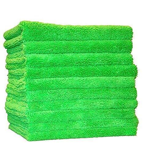 (10-Pack) THE RAG COMPANY 16' x 16' Professional Edgeless 420 GSM Dual-Pile Premium Plush Microfiber Auto Detailing Towels 'Creature Edgeless' (Lime Green) 51616-EL-420