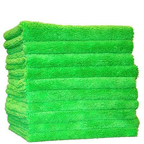 (10-Pack) THE RAG COMPANY 16 x 16 Professional Edgeless 420 GSM Dual-Pile Premium Plush Microfiber Auto Detailing Towels Creature Edgeless (Lime Green)