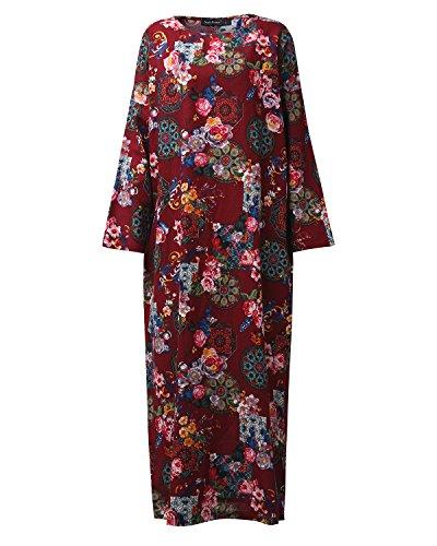 cb53743f82d De Robe Col Longues Longue Vintage Soirée Maxi Boho Tunique Femme Casual  Bordeaux Manches Styledome Coton Large Lâce Rond qpWZYtnz