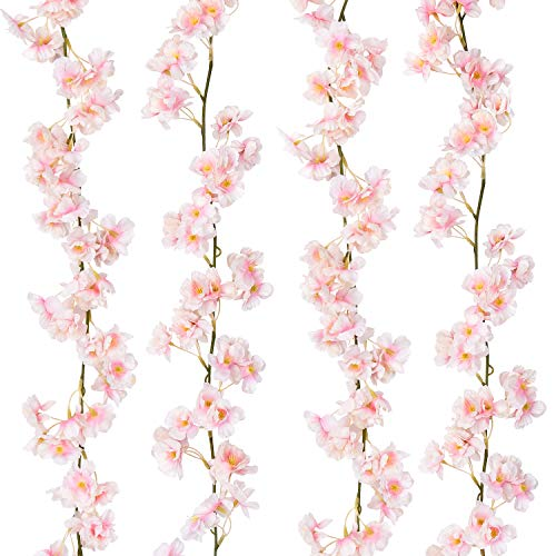 Sunm boutique Artificial Cherry Blossom Garland Hanging Vine Silk Garland Wedding Party Decor (Pack of 2) (Cherry Blossom Wall Light)