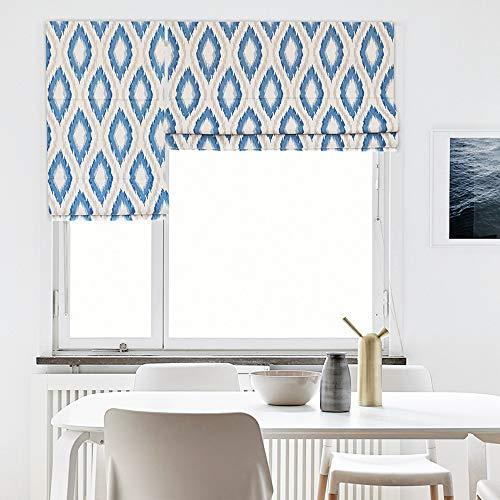 """KARUILU home Quick Fix Washable Roman Window Shades Flat Fold, Custom Any Width from 14"""" to 70"""", Geometric Pattern (30W x 63H, Blue Ikat)"""