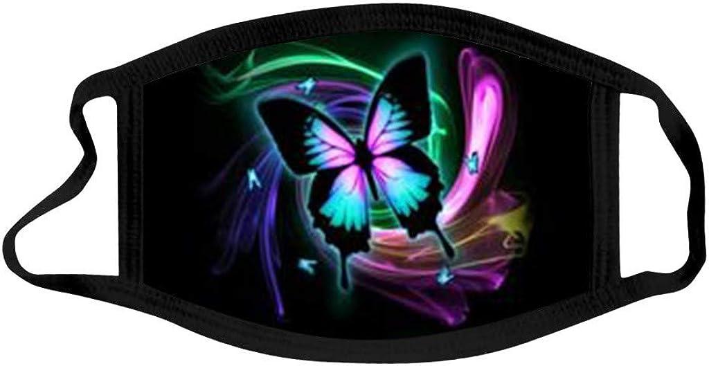 Yuiopmo 3 Pezzi Natale Cotone Lavabile Per Adulti Antipolvere Con Stampa Farfalla Nera Bandana Riutilizzabile Per Coprire Il Viso,Sciarpe Con Nasello E Tasca Per Filtro Confortevole E Permeabile