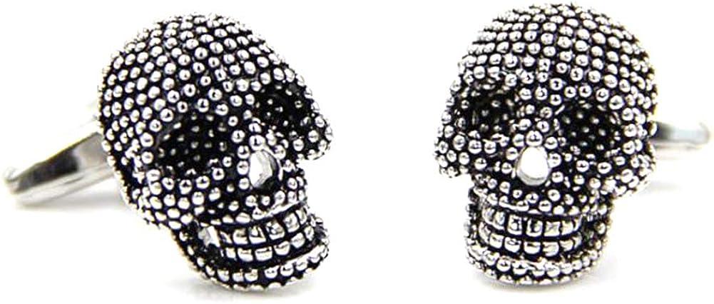 3D Gothic Silver Skeleton Skull Mens Gift Goth Cuff Links