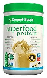 Ground-Based Nutrition Superfood Protein - Organic Plant-Based Protein Powder, Pure Vanilla, 20 Servings, 20.2 oz, Vegan, Non-GMO, No Soy, No Dairy, No Whey, No Sugar, Gluten Free