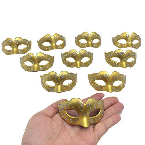 (Yiseng 10pcs Set Simple Supper Small Mini Masks Venetian Masquerade Party Decoration Novelty Kid Gifts (gold))