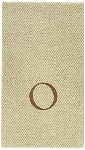 Entertaining with Caspari Jute Herringbone Paper Linen Guest Towels, Monogram Initial O, Pack of 24