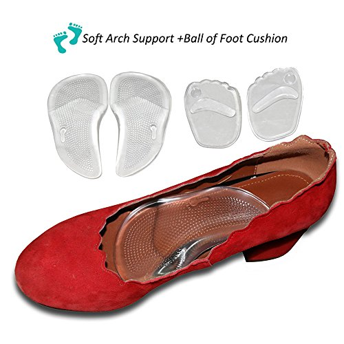 Arch Support Insoles with Ball of Foot Cushions-Self-adhesive Pu Gel Orthotic Insole,Correct FlatFeet Plantar Plantar Fasciitis,Massage Forefoot,Relieves Pain & Pressure(2 Pairs) Self Adhesive Arch Support