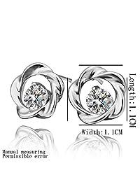 Laprapha New Beautiful Fashion 18k gold plated earring lk rose crystal stud earrings ear cuff bijoux