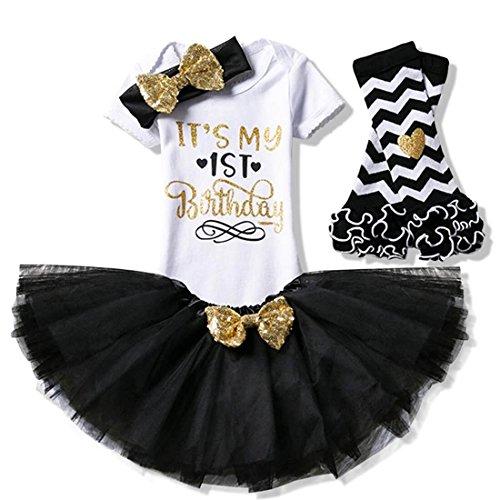 (Creative Festive Costume Baby Girl 1st Birthday Dress - Infant Kids Party Tutu Shiny Outfits)