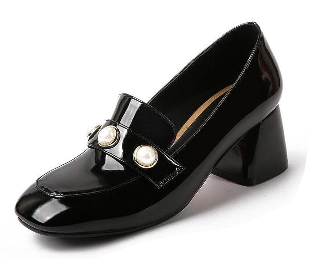 Easemax Damen Modern Quadratisch Zehe ohne Verschluss Verschluss Verschluss Blockabsatz Pumps mit Künstliche Perlen Schwarz 5b87a1