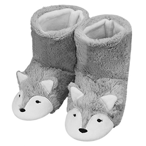 Womens Winter Warm Booties Slippers Cute Fox Plush Fleece Boots House Shoes Ladies Girls Non-slip Ankle Boots Soft Cozy Mules Footwear with Anti-skid Sole (Animal Booties)