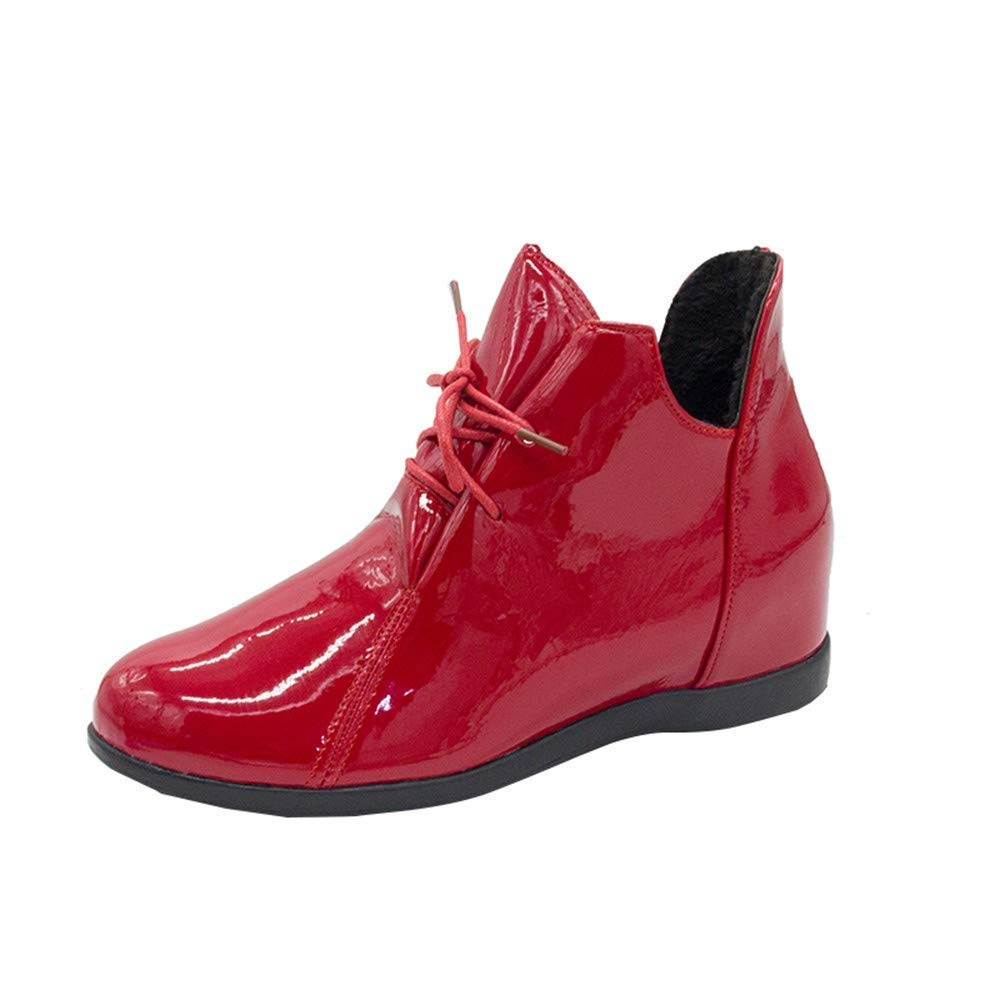 ZHRUI Schuhe Damen Stiefel Freizeitschuhe Winterstiefel Stiefeletten Kurze Stiefel Stiefel Stiefel Frauen Plus Velvet Erhöhung Rutschfeste Martin Stiefel Lackleder (Farbe   Rot Größe   39 EU) eb89c8