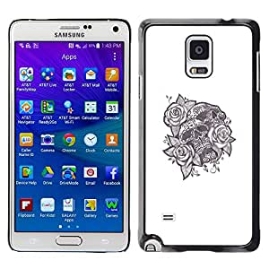 Shell-Star Arte & diseño plástico duro Fundas Cover Cubre Hard Case Cover para Samsung Galaxy Note 4 IV / SM-N910F / SM-N910K / SM-N910C / SM-N910W8 / SM-N910U / SM-N910G ( Tattoo Ink Skull Black White Rose Love )