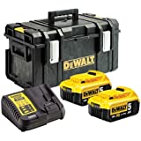 Dewalt DCB184 5.0Ah Batteries Twin Pack, DCB115 Charger and DS300 Toughsystem Case Kit