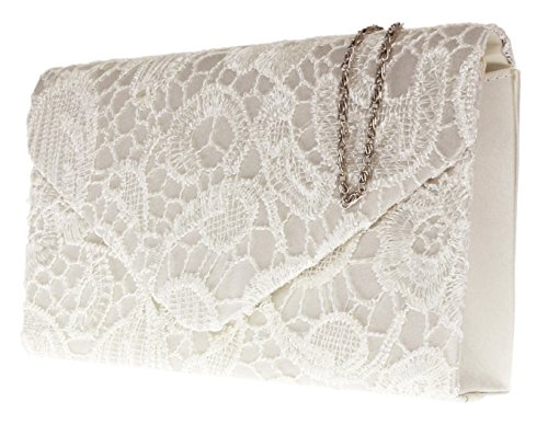 Girly Clutch Handbags Lace Ivory Bag Satin champagne rqrRSU7Wtw